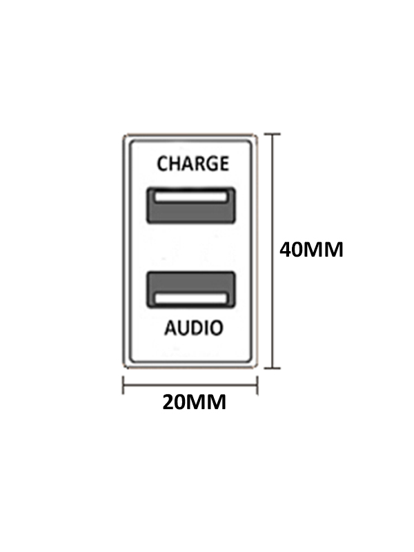 Toyota USB Audio Charger Prado 120 spec dims